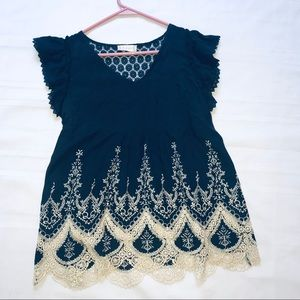 S Altar'd State embroidered babydoll style top euc